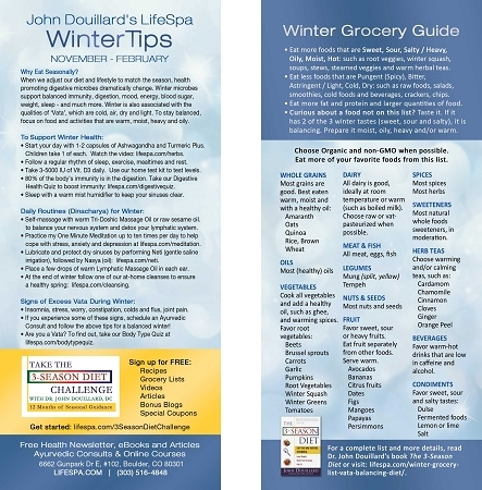 LifeSpa - Winter Grocery List image 1